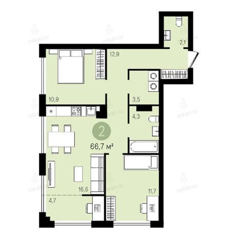 Вариант №2621, 3-комнатная квартира в жилом комплексе Квартал на Никитина