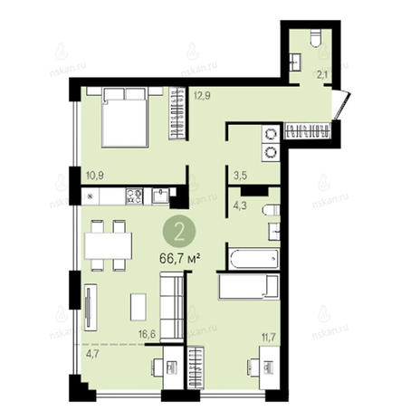 Вариант №2621, 3-комнатная квартира в жилом комплексе