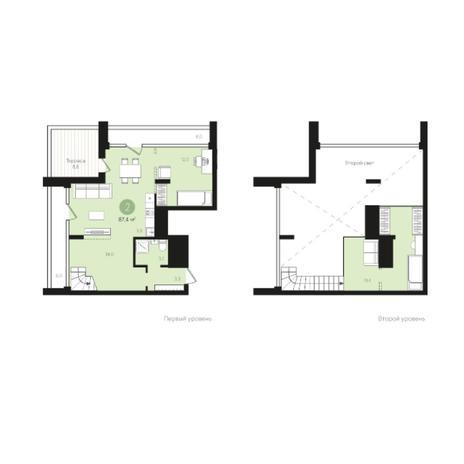 Вариант №5989, 2-комнатная квартира в жилом комплексе