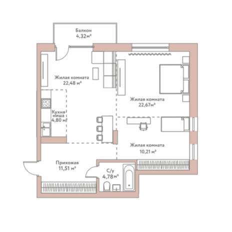 Вариант №5974, 2-комнатная квартира в жилом комплексе
