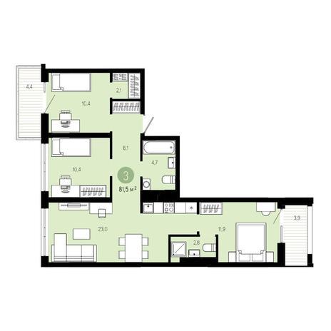 Вариант №4806, 4-комнатная квартира в жилом комплексе Европейский Берег