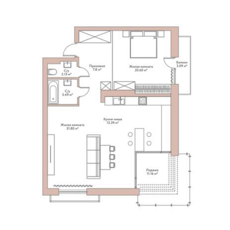 Вариант №5962, 2-комнатная квартира в жилом комплексе